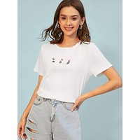 SHEIN Embroidery Floral Rib-knit Tee