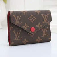 LV Louis Vuitton hot sale printed letters men and women button small wallet key case Red