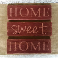 Home Sweet Home Signs, Rustic Home Sweet Home, Primitive Home Sweet Home Wall Decor, Distressed Home Sweet Home Signs, Red Home Sweet Home