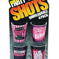 Party Shots Birthday Bitch - Asst. Pack Of 4 Unbreakable