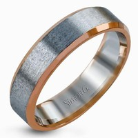 Simon G. White & Rose Gold Satin Finish Wedding Band