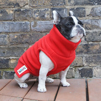 Girls Fleece French Bulldog Pug Turtleneck Sweater - Red