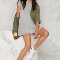 Nasty Gal Take the Shirt Cut Dress - Gray