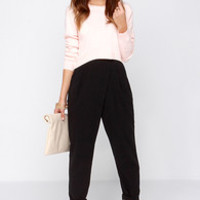 Corporate Ladder High-Waisted Black Pants