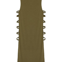 Olive Green Cut Out Mini Dress