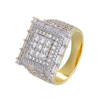 Solitaire Men's Designer Bling Square Baguette Custom Ring