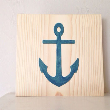 Customizable Anchor Sign, Stained and Hand Painted, nautical/ beach decor, birthday gift, home decor, vacation house, summer decor
