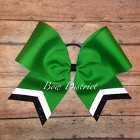 """3"""" Kelly Emerald Green Team Cheer Bow with White Glitter and Black Glitter Tail Stripes"""