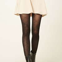 Diamond Pattern Knit Tights