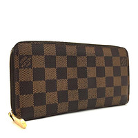100% Authentic Louis Vuitton Damier Zippy Zip Around Long Wallet purse / vDDC