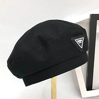 Prada beret fashion trend woven inverted triangle male and female personality corner hat