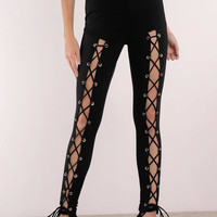 Lace Up To No Good High Waisted Leggings