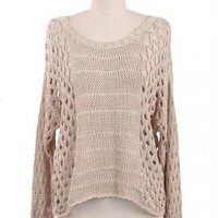 Just Friends Slouchy Open Knit Sweater in Beige | Sincerely Sweet Boutique