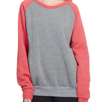 LE3NO PREMIUM Womens Color Block Raglan Fleece Pullover Sweatshirt