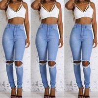 Hole Ripped Jeans Women Jeans Woman Jeans For Girls Stretch High Waist Skinny Jeans Female Pants