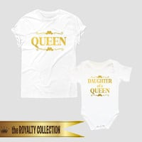 QUEEN & DAUGHTER of a QUEEN matching family tee shirts, mommy and me t shirts, mother daughter t shirts, mothers day gift ideas