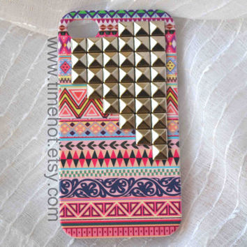 Aztec Tribal Silver Pyramid Studded iphone 4,4s case,iphone 4,4s hard case,iphone case
