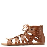 Rust Qupid Studded Lace-Up Gladiator Sandals