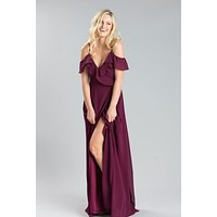 Savannah Plum Wrap Maxi Dress