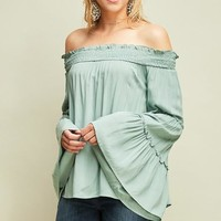 Sage Bell Sleeve Blouse