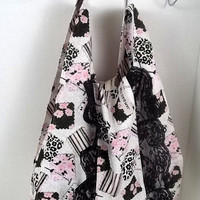 FOLDBAG // Eco Friendly Lunch Bag - Spring Patchwork Print w black lace ruffle ribbon and hook   reusable shopping bag, reusable grocery bag