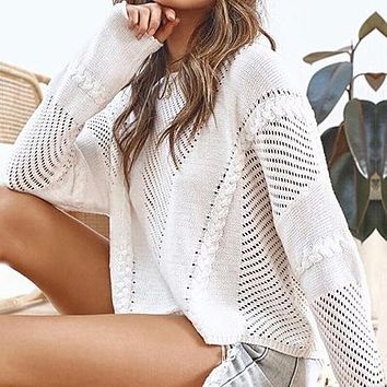 Women White Hollow Out Pullovers Fashion Casual High Waist Jumpers Sweaters Ladies Knitted Tops