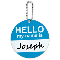 Joseph Hello My Name Is Round ID Card Luggage Tag