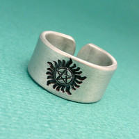 SHOP EXCLUSIVE - Supernatural Inspired - Anti-possession - A Hand Stamped Aluminum Ring
