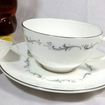 Vintage Royal Dolton English Teacup and Saucer/English Fine Bone China Coronet H 4947 Cup and Saucer/Silver Trimmed Doulton Teacup