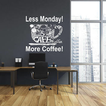 Coffee Shop Wall Decal, Inspirational Quote, Store Shop Window Decal, Store Front Wall Sticker, Custom Wall Decor, Wall Decal Quotes nm033