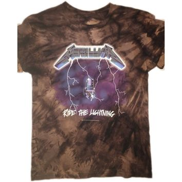 "Hand Bleached Metallica ""Ride the lightning"" Band Tee"