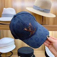 """""""Louis Vuitton LV"""" Unisex Fashion Leather Letter Embroidery Baseball Cap Couple Casual Peaked Cap Sun Hat"""