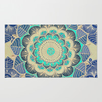 Midnight Bloom - detailed floral doodle in gold, navy blue & mint Area & Throw Rug by micklyn