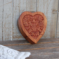 Jewelry Box, Puzzle, Ring Box, Wood, Heart Shaped, Vintage, Valentine