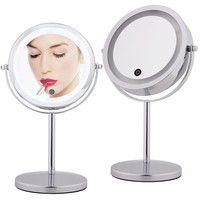 7 Inch 10x Magnifying Make up Mirror Touch Screen LED Lighted Makeup Mirror Dual 2 Sided 360 Degree Rotating Cosmetic Mirror