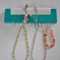 Little Girl's Bracelet Necklace Holder Organizer Turquiose & White 9 x 21/2'' with Dowel 1'' x 6 1/2 Long