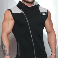 Quick Dry Hooded Mens Running Shirts Compression Tight Gym Tank Top Fitness Sleeveless T-shirts Sports Running Vest
