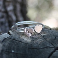True Love Double Heart Sterling Silver Rings Made to by thenay