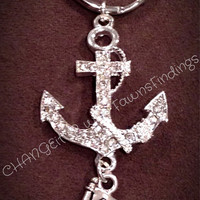 Rhinestone Anchor Keychain with or without beads (color of choice) perfect as a gift, school banquets, using any mascot you want.