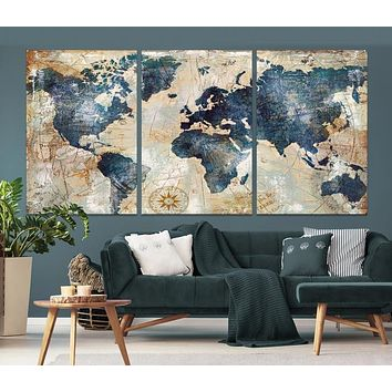 Large Watercolor World Map Wall Art Canvas Print
