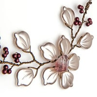 Rusty Red and White Flower Necklace, Bordeaux Red and White Choker Necklace, Holiday Jewelry, Nature Jewelry