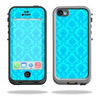 Mightyskins Protective Vinyl Skin Decal Cover for LifeProof iPhone 5C Case fre Case wrap sticker skins Blue Vintage