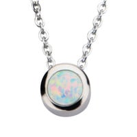 Stainless Steel & Synthetic White Opal Necklace