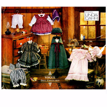 """VOGUE DOLL CLOTHES Pattern 18"""" Doll Clothes Dress Bloomers Nightgown Cap Cape Hat Vogue 8337 Early American Girl Doll Craft Sewing Patterns"""