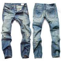 Slim Fit Light Wash Distressed Jeans