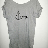 Always Harry Potter inspired Deathly Hallows Harry Potter Clothing Shirt loose fit slouchy off the shoulder women ladies