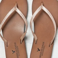 AEO Women's Beaded Faux Leather Flip Flop (Rose Gold)