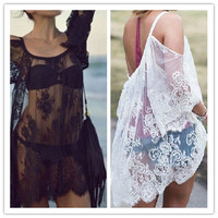 Sexy Women Vintage Hippie Boho Floral Embroidered Floral Lace Crochet Mini Dress Party Tops = 1956994116