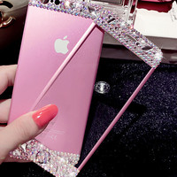 Handmade Ultra-thin Premium iPhone 7 7Plus & iPhone 6s 6 Plus Toughened Glass Screen Protector with Diamond + Gift Box