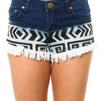 Reverse Short Tribal Print Ombre in Blue